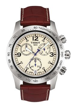 The Tissot V8 watch is ideal for adrenalin-loving types. The stunning dashboard-style dials and stylish combination of nostalgia and high-tech materials make it a powerful look for the wrist. This watch is available in an array of dials with chronograph, and choice of stainless steel bracelet or leather strap. The V8 watch has a scratch resistant sapphire crystal.