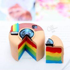rainbow instagram camera cake!!!