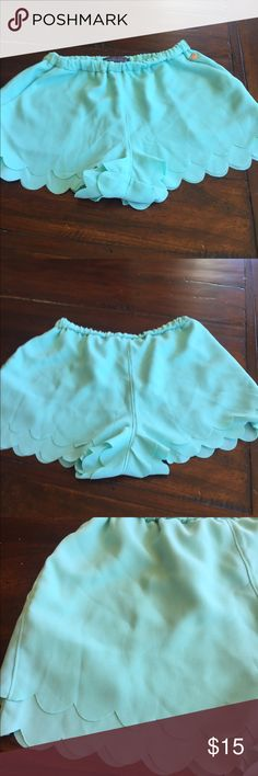 Mint green Kendall and Kylie shorts from PAC Sun Great Condition shorts with a scalloped trim elastic waist. Kendall and my heart appliqué Kendall & Kylie Other