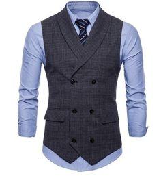 Kvalitná pánska vesta s jemným vzorom v tmavo sivej farbe0 Waistcoat Men Casual, Men's Waistcoat, Mens Suit Vest, Mens Suits, Waistcoat Men Wedding, Double Breasted Waistcoat, Western Outfits, Outfit Hombre Casual, Chaleco Casual