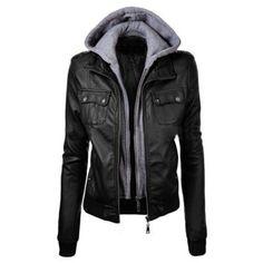 Fashion Hooded Zipper Placket Long Sleeve False Two-Piece PU Jacket ($34) ❤ liked on Polyvore featuring outerwear, jackets, pu biker jacket, biker jackets, hooded biker jacket, biker style jacket and pu jacket