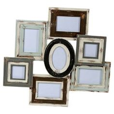 """Multicolor wood wall picture frame. Holds seven pictures.  Product: Picture frame clusterConstruction Material: WoodColor: MultiFeatures: Holds seven photosDimensions: 24"""" H x 25.5"""" W x 1.5"""" DCleaning and Care: Wipe with a dry cloth"""