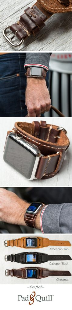 www.PadAndQuill.com The beautiful Lowry Cuff Apple Watch Band is made for the 42 mm Apple Watch. It has hand-finished stitching, 3 color options and is made with leather from the Horween Tannery. Made next door on the banks of the Mississippi River, the supple leather and raw edge of this luxury leather cuff for the Apple Watch give homage to the eclectic feel of the city we call home. #applewatch
