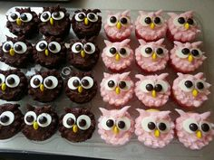 muffins leckerer nachtisch essen The Effective Pictures We Offer You About kids halloween snacks A q Owl Cupcakes, Animal Cupcakes, Cute Cupcakes, Cupcake Cookies, Owl Cupcake Cake, Owl Party Favors, Dessert Halloween, Halloween Party, Owl Birthday Parties