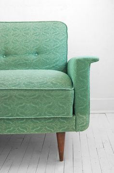This vintage sea foam green Eames couch sold long ago but the inspiration remains—I think this is the actual fabric that was on my grandmother's sofa