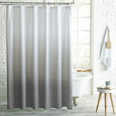 Add an elegant contemporary element to your bathroom decor with the Peri Home Ombre Microsculpt Shower Curtain. The curtain's color shaded effect and dimensional texture are perfect for matching any theme. Ombre Shower Curtain, Modern Shower Curtains, Bathroom Shower Curtains, Master Bathroom, Small Bathroom, Curtains Kohls, Grey Curtains, Colorful Curtains, Rustic Bathrooms
