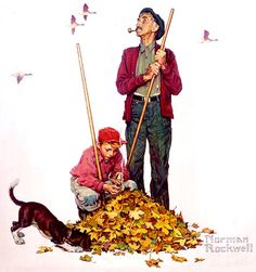 Raking leaves & playing in them in the fall....one of my favorite things when I was a kid!  This illustration is by Norman Rockwell.