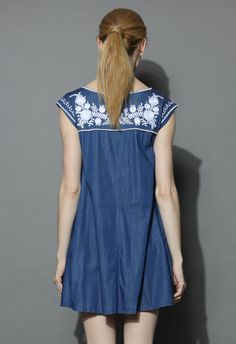 759cd1e84df0 Babydoll Denim Dress with Marigold Embroidery - Retro, Indie and Unique  Fashion Jeans Kleid,