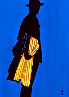 Print of fashion illustration by René Gruau