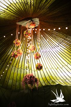 Parachute hung as a wedding canopy at this reception held in a private airplane hanger.