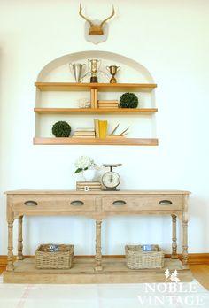 Noble Vintage: farmhouse bleached wood sofa table
