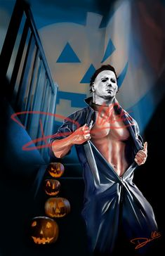 October edition of the Hunks of Horror series. Feat. Michael Myers as the SHAPE! Follow on Instagram for updates and monthy Hunks of Horror listings massive_art_attack Print available here www...