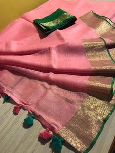 Excited to share this item from my shop: Linen saree Organic Linen by Linen sarees with zari Work and blouse piece Organic handwoven 100 count Linen saree Stitched blouse on request Sari, Saree Blouse, Saree Dress, Saree Border, Work Sarees, Handloom Saree, Banaras Sarees, Linen Blouse, Indian Sarees