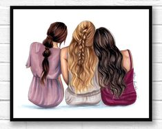Best friends - 4 best friends - friendship print - friend art - bestie - fashion illustration - fashion sketch - summer art - sister print - New Ideas Bff Pics, Bff Pictures, Best Friend Pictures, Frozen Pictures, Friends Sketch, Drawings Of Friends, Best Friend Sketches, Cute Best Friend Drawings, 4 Best Friends