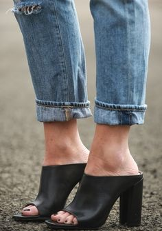 Tip: Pair an open toed mule with your favorite boyfriend jeans for a comfortable, yes feminine outfit.