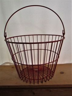 """Vintage Wire coated Egg Basket Red Large 10"""" by 15"""" - http://pets.goshoppins.com/backyard-poultry-supplies/vintage-wire-coated-egg-basket-red-large-10-by-15/"""