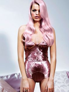 Glitsy pink body suit and pink hair #fashion