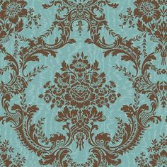 The Wallpaper Company - 20.5 In. W Brown and Blue Mid-Scale Damask on a Moire Ground Wallpaper - WC1282612 - Home Depot Canada