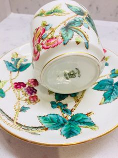 Antique Aynsley china cup saucer duo coffee can hand painted brambles early | eBay