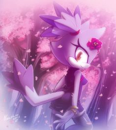 ^^ Blaze the cat i hope u like it Cherry blossom girl Sonic The Hedgehog, Silver The Hedgehog, Cherry Blossom Background, Cherry Blossom Girl, Sonic Fan Art, Amy Rose, Blaze The Cat, Rouge The Bat, Chibi