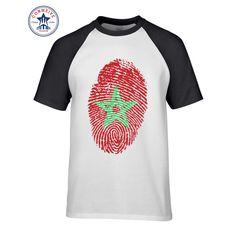 2017 Various Colors Funny Cotton Morocco Flag Fingerprint Cotton Funny T Shirt for men #Affiliate