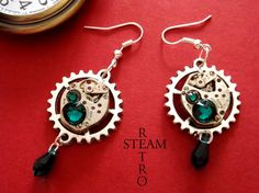 FREE SHIPPING USA Vintage watch movement Emerald Swarovski Steampunk Earrings - Steampunk Jewelry by Steamretro