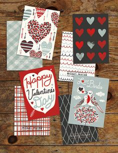 Set of 4 5x7 Valentine's Day Cards, via Etsy.