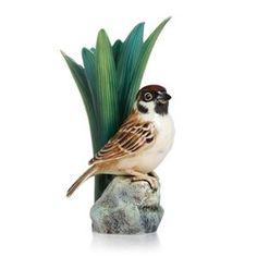 Franz Porcelain Collection Artist's Palette Tree Sparrow Sml Vase