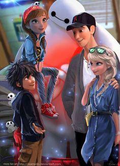Big Hero 6 and Frozen crossover! Baymax, Elsa, Anna and Tadashi & Hiro Hamada! This is actually really cute