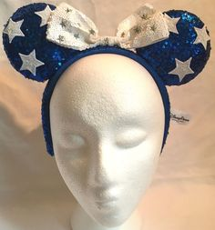 Details about NEW Disney Parks Blue   White Star Minnie Mouse Sequin Ear  Hat Headband with Bow 83723881d1a1