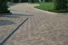 Herringbone driveway with drainage
