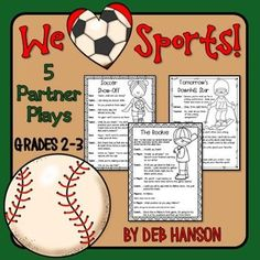 Sports Partner Plays (five 2-person scripts to improve fluency). Perfect for a reading center or for classrooms implementing Daily 5 activities!