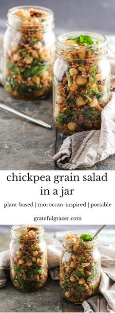 This Moroccan-inspired chickpea grain salad is flavorful, nutritious, and hearty enough to stand the test of travel. Break out of your weekday lunch rut! via @gratefulgrazer