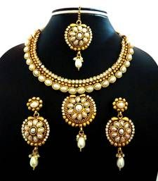Buy Preety White Pearl Wedding Bridal Necklace Set With Maang Tikka necklace-set online
