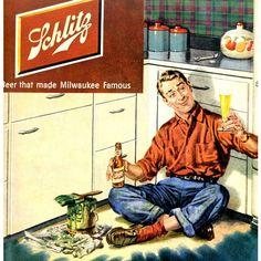 vintage husband painter 1950 advertisement beer schlitz found on Polyvore