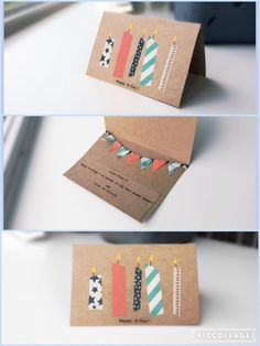 Make your own birthday card - DIY - Washi tape ☆                                                                                                                                                                                 Más