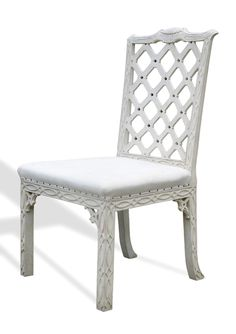 Chippendale Chairs - Chippendale style, fretted backs, carved crest rail, blind fretwork decoration and carved brackets.