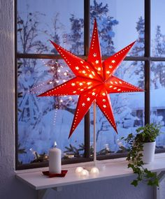 Red star table lantern—Christmas design elements❣