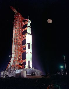The Saturn Rocket that would take the Apollo 17 prime crew to the moon is pictured below on its launch pad. First to be launched at night..... I watched this happen!