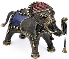 The Temple Elephant with the Bell - Handmade Indian Bronze Metal Elephant Statue in Dhokra Art