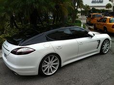 Exotic Cars on the Streets of Miami: White / Black Porsche Panamera with painted roof Porsche Wheels, Porsche Sports Car, New Sports Cars, Sport Cars, Bugatti, Lamborghini, Ferrari, Porsche 2017, Audi