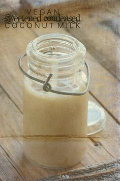 Recipe to make Sweetened condensed milk. Uses coconut milk and maple syrup or honey. keeps 3 weeks in refridgerator.