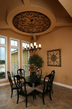 """""""Tuscan hill country home""""    Love the ceiling and lighting the most..gorgeous. by Silver Oak Interiors via houzz.com"""