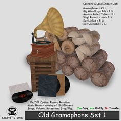 Secondlife, Second Life Marketplace, SaCaYa, Mesh, Gramophone, Music, CoLab 148…