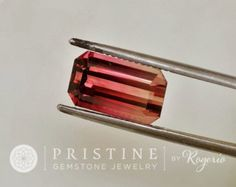 Pink Tourmaline Emerald Cut Over 5.81 Carats October Birthstone for Pendant or Fine Jewelry.