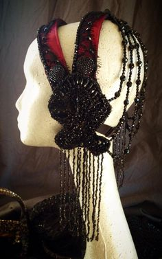 raspberry & jet hand beaded headdress made by Medina Maitreya