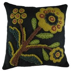 12x12 Night Bloom Pillow - Hand Stitched, Felted Pillow, beautifully executed craftsmanship. $49.95 TO ORDER: greenlifestylebiz@gmail.com - Greenlifestylebiz on Facebook/Suzi M Green Interior Decorator Mpls MN on Pinterest