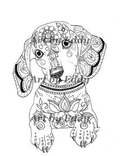 Art of Dachshund Single Coloring Page by ArtByEddy on Etsy https://www.etsy.com/listing/248273914/art-of-dachshund-single-coloring-page