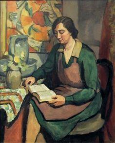 LANNAY (Ady de). Ecole belge (1900-1942) Femme en tablier lisant. Huile sur toile (800 x 64
