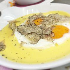 Eggs and fondue with black truffle @ restaurant le vigne e i falò Castagnito Italy Massucco family
